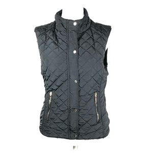 Daisy Large Faux Fur Lined Black Quilted Vest